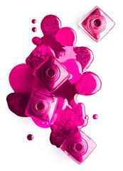 Nail art concept. Colorful pink nail polish