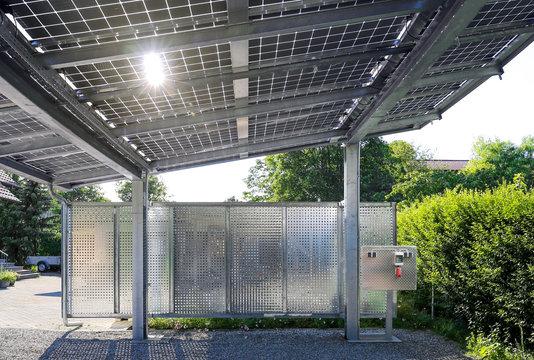 New carport with semi transparent photovoltaik moduls