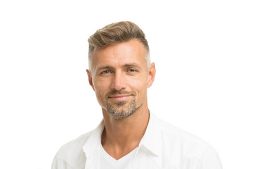 Deal with gray roots. Man attractive well groomed facial hair. Barber shop concept. Barber and hairdresser. Man mature good looking model. Silver hair shampoo. Anti ageing. Grizzle hair suits him