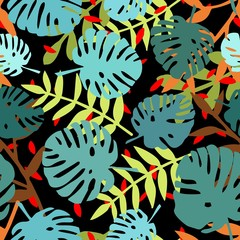 Tile tropical vector pattern with exotic leaves on black background