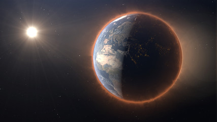3D Earth with heat halo, global warming danger concept