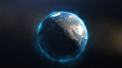 Earth with blue halo, Global technology concept