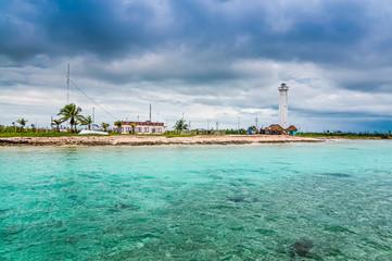 Lighthouse in Mahahual, Mexico, Yucatan peninsula, Quintana Roo