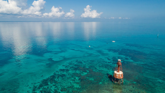Aerial of Carysfort Reef Lighthouse in Florida Keys