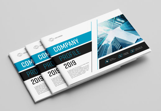 Brochure with Blue and Grey Accents