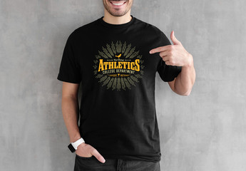 Vintage T-Shirt Logo Design Layout with Grunge Texture
