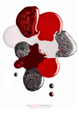 Abstract design of red and silver nail polish