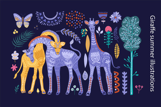 Cartoon giraffe vector illustration.