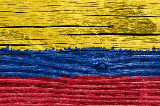Kolumbien Vintage Flagge auf Holz