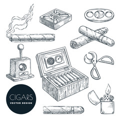 Cuban cigars and accessories vector vintage sketch illustration. Tobacco smoking icons set, isolated on white background