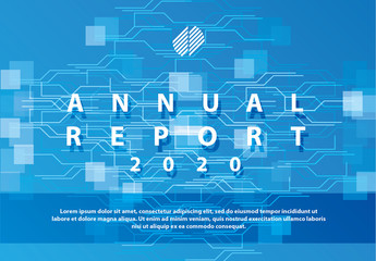 Annual Report Cover Layout with Technological Elements