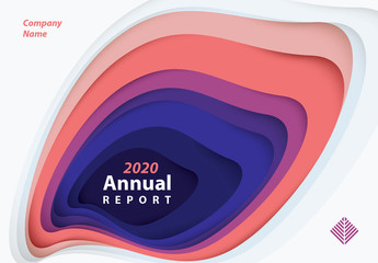 Annual Report Cover Layout with Paper Cutout Elements
