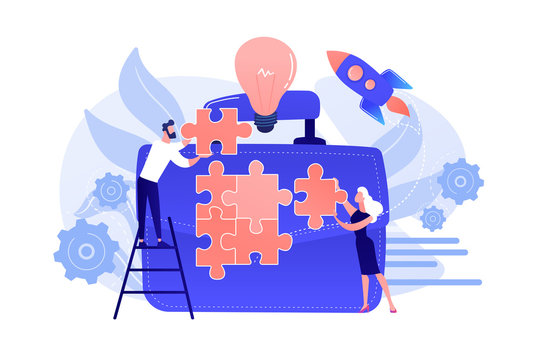 Business people joining puzzle pieces and huge briefcase with bulb. Business meeting and partnership, make a deal concept on white background. Coral pink palette vector isolated illustration.