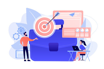Businessman at target and arrow and woman analysing data and laptop. Business strategy, business goals and plan concept on white background. Coral pink palette vector isolated illustration.