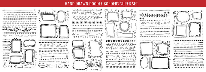 Hand drawn line, border, frame vector design element set. Template for invitation or greeting card. Wall mural