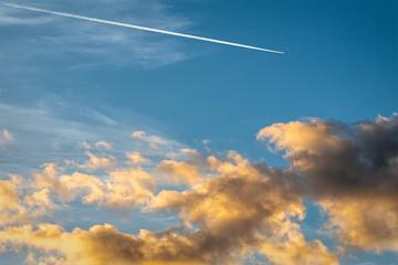 Arizona Sunset Sky With Airplane Contrail