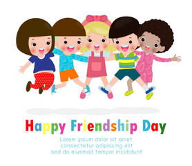 Happy friendship day greeting card with diverse friend group of children jumping and hugging together for special event celebration background poster Template for advertising brochure Vector illustrat