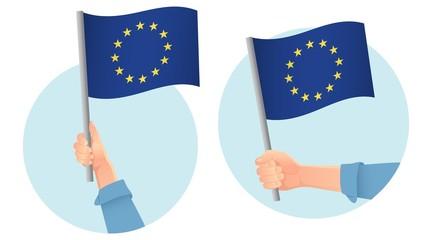 Europe EU flag in hand icon