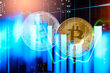 Modern way of exchange. Bitcoin is convenient payment in global economy market. Virtual digital currency and financial investment trade concept. Abstract cryptocurrency with gold bitcoin background..
