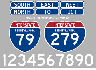 Highway Road signs interstate