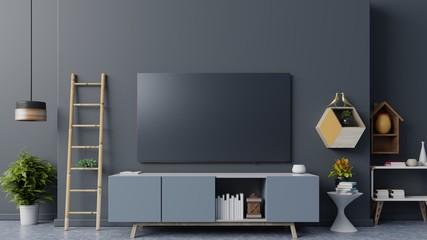 Smart TV on the dark wall in living room,minimal design,3d rendering Wall mural