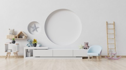 Children's room with easel armchair and cabinet.Children's room with bright white color wall.3D rendering