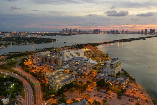 Beautiful twilight aerial Mount Sinai Hospital Medical Center Miami Beach