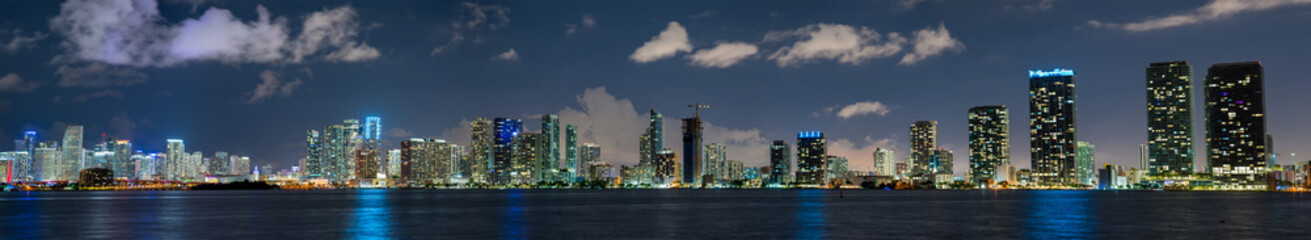 Wall Mural - Ultra panorama Downtown Miami night photo
