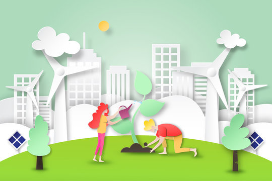 Paper art of environment and ecology conservation concept.People plant tree in green eco city and clean energy.Vector illustration.