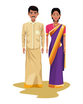 indian couple avatar cartoon character