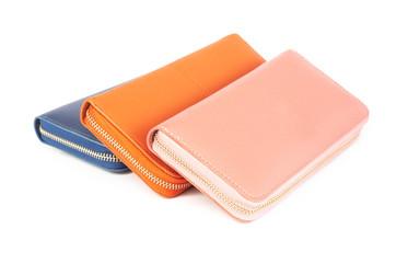 Closeup modern woman wallet fashion on white background