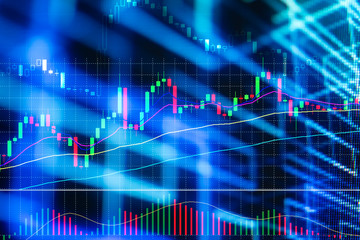 Stock exchange market or forex trading graph analysis investment indicator / Business graph charts of financial board technology