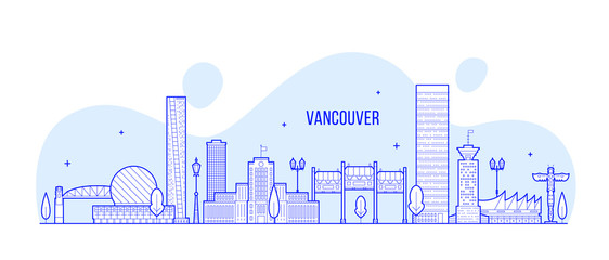 Wall Mural - Vancouver skyline Canada city linear art vector