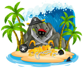 Wall Mural - Isolated pirate island on white background