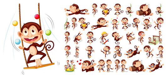 Set of monkey character
