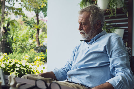 senior man thinking about business strategy as serious and stress at balcony