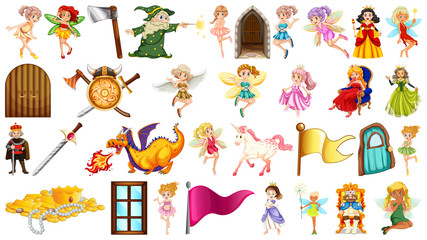 Poster Kids Set of fantasy fairy object