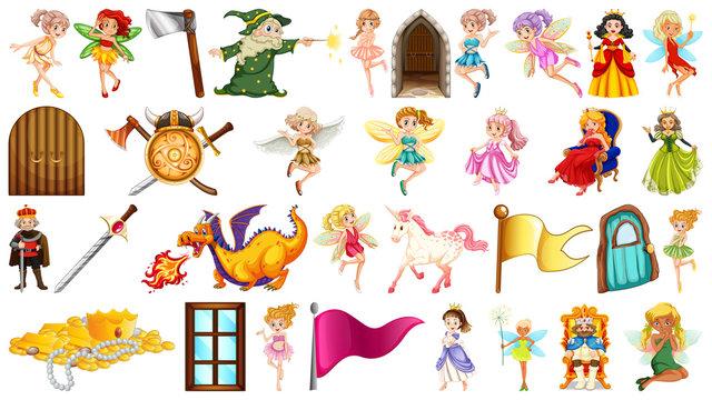 Set of fantasy fairy object