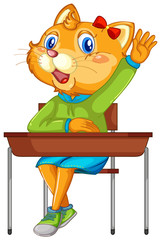 Papiers peints Jeunes enfants Cat student character on white background