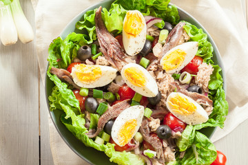 Nicoise Salad with tuna, anchovy, eggs and tomatoes
