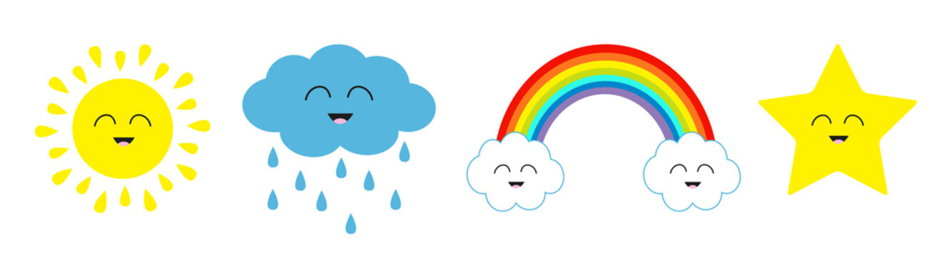 Cute cartoon kawaii sun, cloud with rain, star, rainbow icon set line. Smiling face emotion. Baby charcter collection Funny illustration. Isolated. White background Flat design.