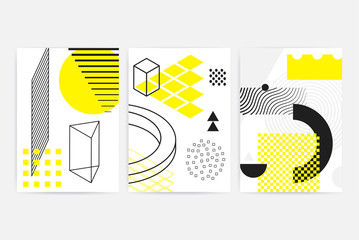 Posters set with bright bold geometric elements