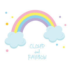 Vector illustration of clouds and rainbow on white