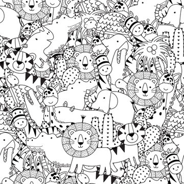 Black and white seamless pattern with adorable safari animals. Coloring page for adult and kids