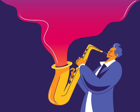 Saxophone player with abstract wave of music flying out of his instrument.. Modern flat colors illustration.