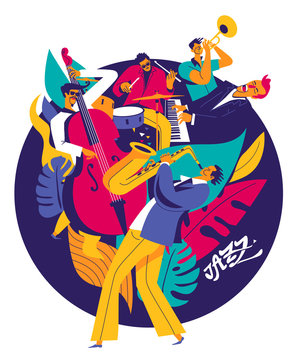 Summer jazz music festival poster. Multiple musicians composition on abstract floral background. Modern flat colors illustration.