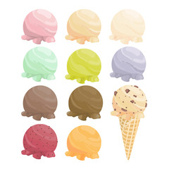 Set of cartoon icons. Ice cream scoops and waffle cone. Different favors and colors - vector
