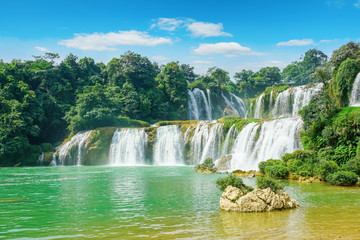 The beautiful and magnificent Detian Falls in Guangxi, China..