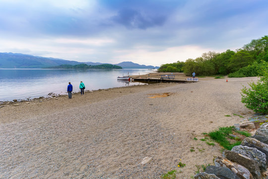 Luss Pier is a popular starting point for boat trips on the loch Lomond , Argyll & Bute, Scotland