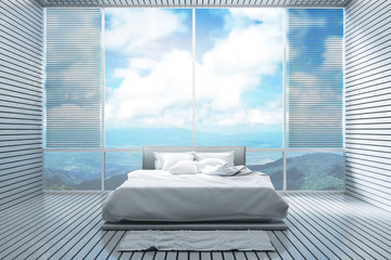 3D Rendering : illustration of mountain view bedroom interior. soft bed with relaxing view from hotel or resort. morning wake up concept. wooden tile interior design. sunlight shining from outside.